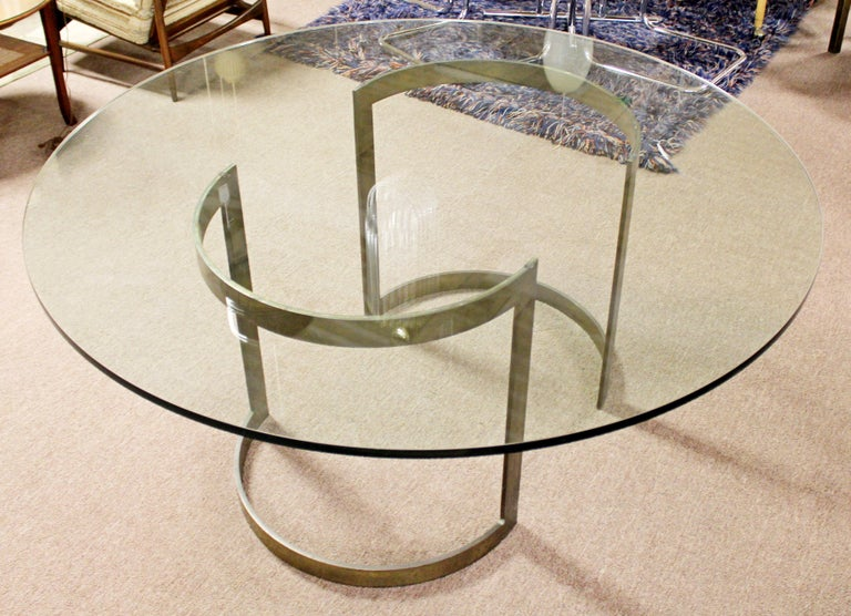 Mid-Century Modern Milo Baughman Thayer Coggin Bronze & Glass Dining Table 1970s For Sale 1