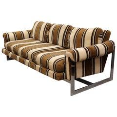 Mid-Century Modern Milo Baughman Thayer Coggin Floating Chrome Sofa, 1970s