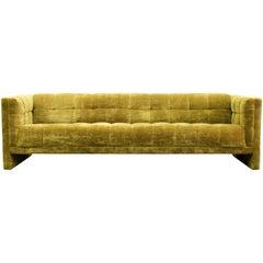 Mid-Century Modern Milo Baughman Tufted Tuxedo Velvet Sofa, 1960s, Dunbar Style