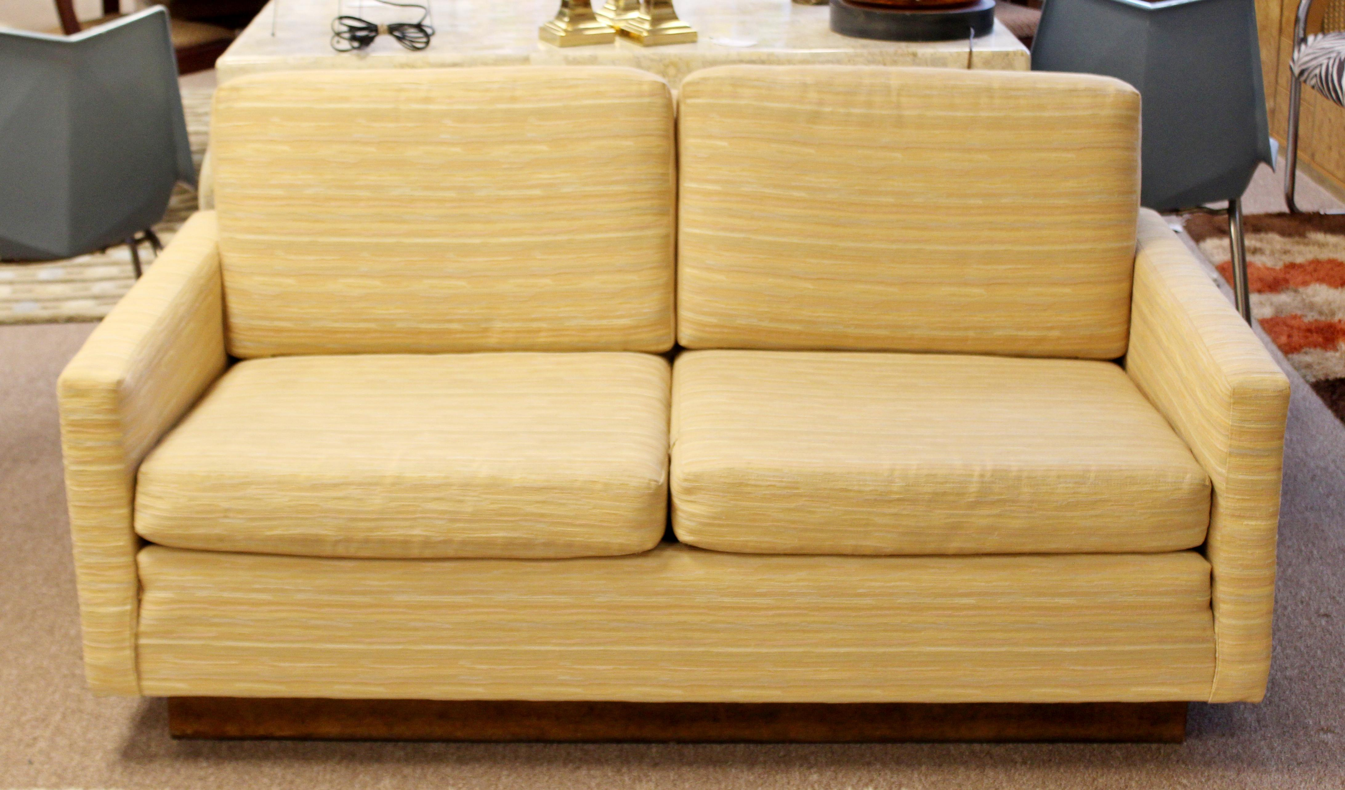 Mid Century Modern Milo Baughman Wood Plinth Base Sofa Loveseat, 1960s