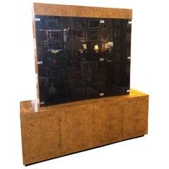Mid-Century Modern Milo Boughman Burl Wood Sideboard with Upper Cabinet