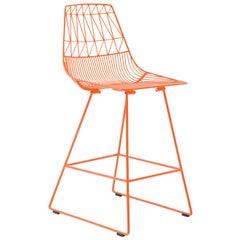 Mid-Century Modern, Minimalist Counter Stool, in Orange by Bend Goods