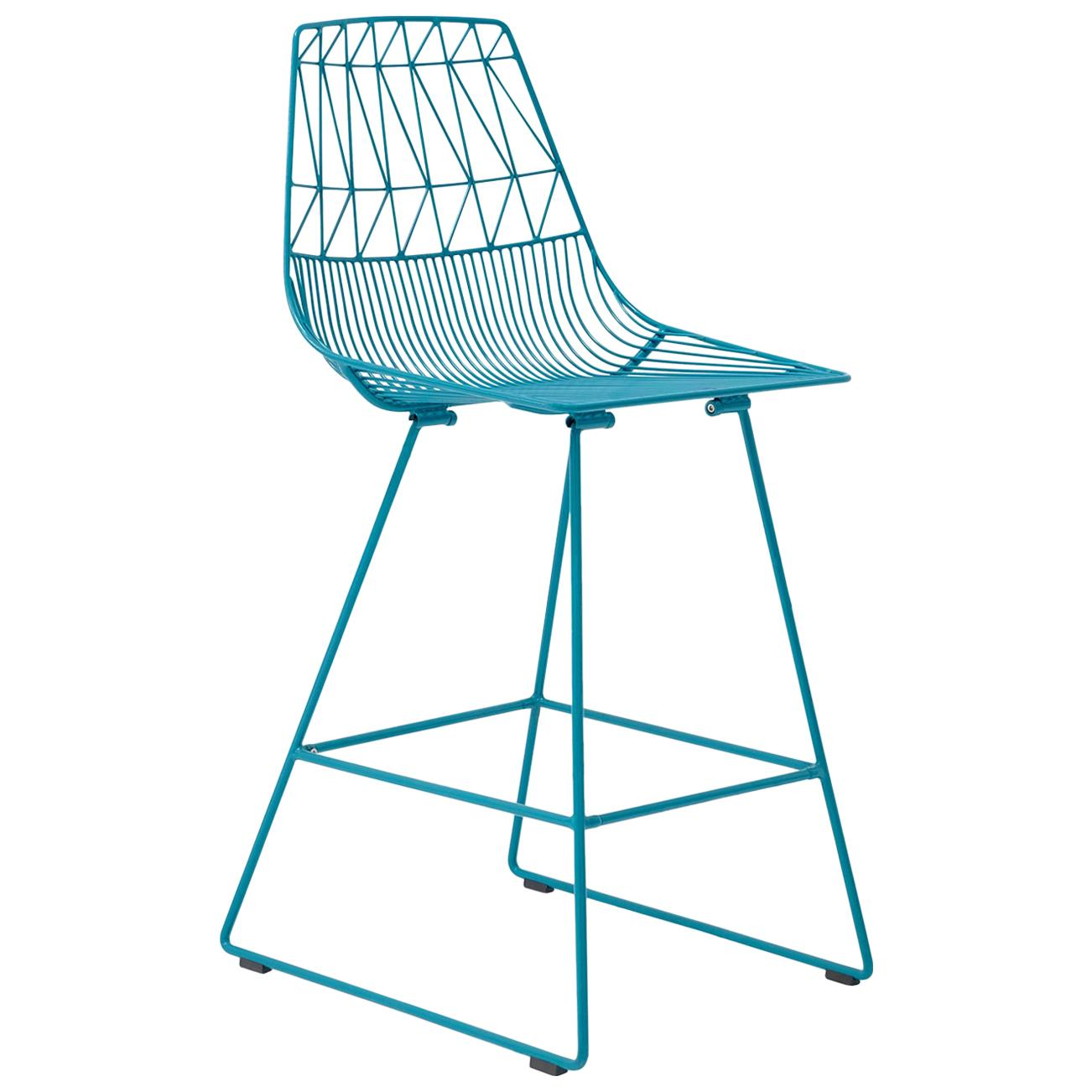 Mid-Century Modern, Minimalist Counter Wire Stool, in Peacock Blue