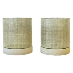 Mid-Century Modern Minimalist Hurricane Candle Lamps, Pair