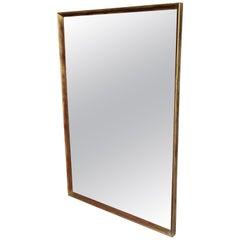 1960's Minimalist Rectangular Giltwood Frame Wall Mirror