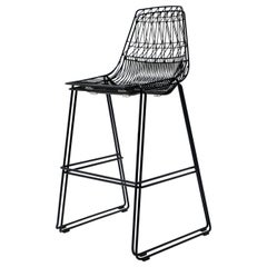 Mid-Century Modern, Minimalist Stacking Bar Stool, Wire Stool in Black