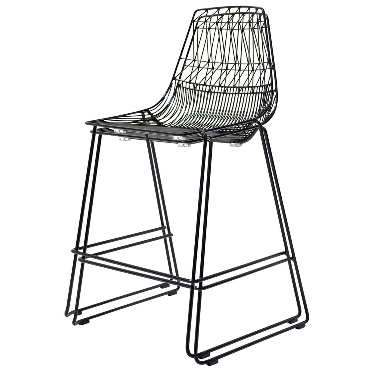 Mid-Century Modern, Minimalist Stacking Counter Stool, Wire Stool in Black