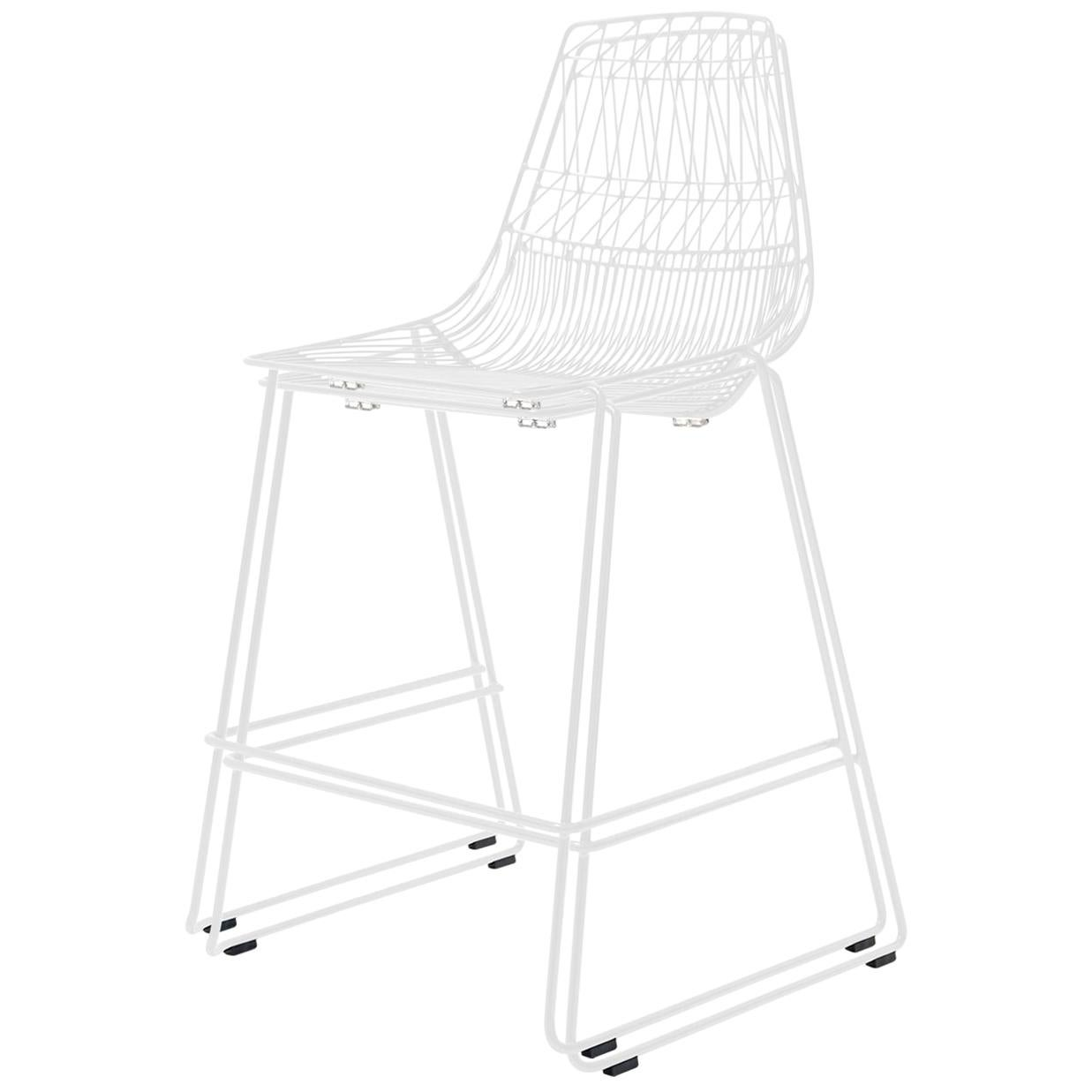 Mid-Century Modern, Minimalist Stacking Counter Stool, Wire Stool in White