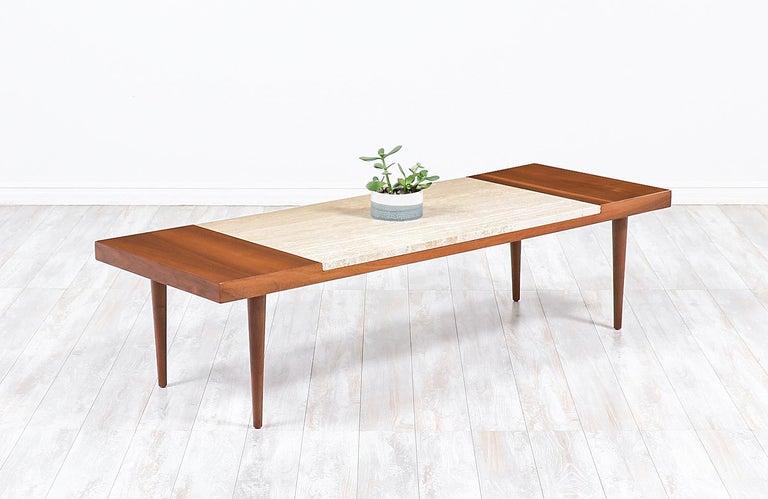 Mid-Century Modern Minimalist walnut and Italian travertine coffee table.