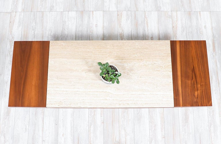 Mid-Century Modern Minimalist Walnut and Italian Travertine Coffee Table In Excellent Condition For Sale In Los Angeles, CA