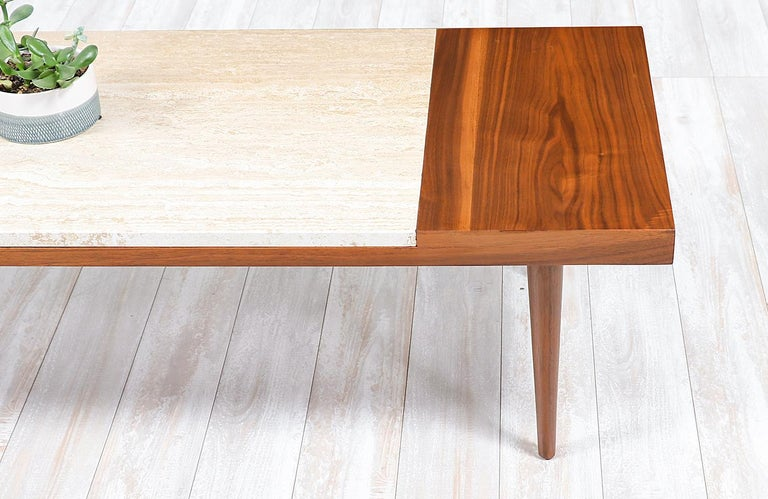 Mid-20th Century Mid-Century Modern Minimalist Walnut and Italian Travertine Coffee Table For Sale