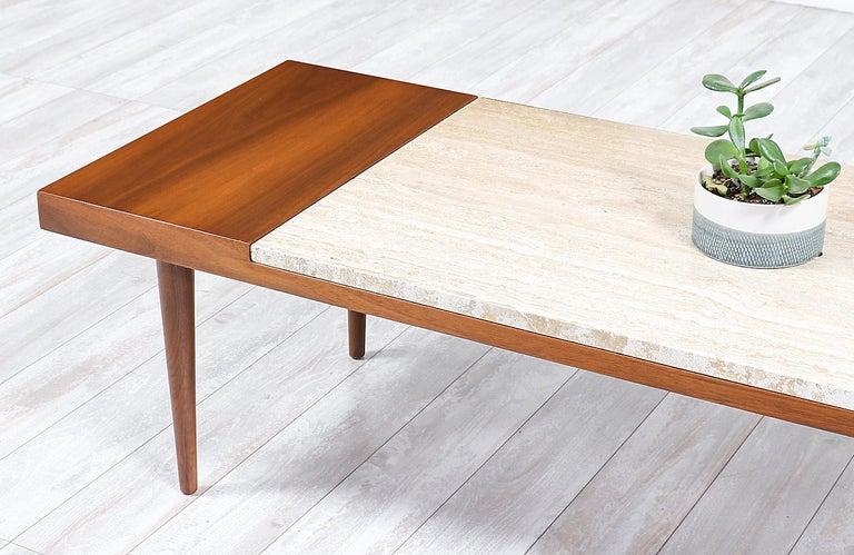 Mid-Century Modern Minimalist Walnut and Italian Travertine Coffee Table For Sale 1