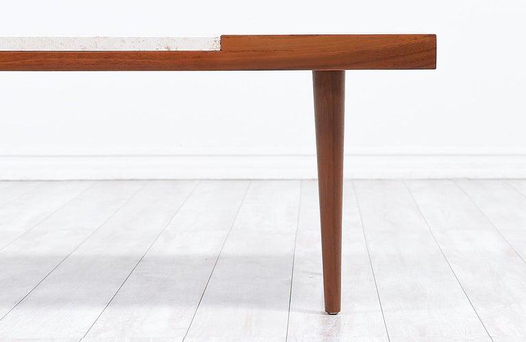 Mid-Century Modern Minimalist Walnut and Italian Travertine Coffee Table For Sale 3