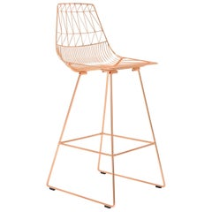 Mid-Century Modern, Minimalist Wire Bar Stool, in Copper by Bend Goods