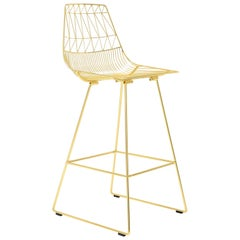 Mid-Century Modern, Minimalist Wire Bar Stool, in Gold by Bend Goods