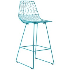 Mid-Century Modern, Minimalist Wire Bar Stool, in Peacock Blue