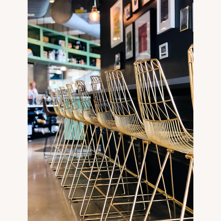 Unknown Mid-Century Modern, Minimalist Wire Bar Stool, Lucy Bar Stool in Black For Sale