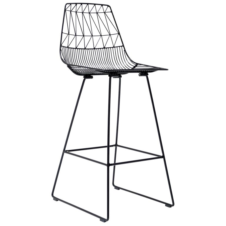 Mid-Century Modern, Minimalist Wire Bar Stool, Lucy Bar Stool in Black For Sale