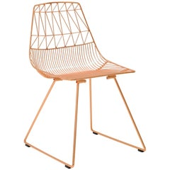 Mid-Century Modern, Minimalist Wire Chair, Lucy Chair in Copper