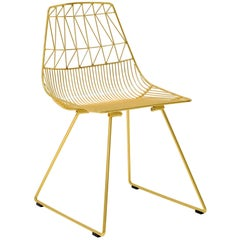 Mid-Century Modern, Minimalist Wire Chair, Lucy Chair in Gold