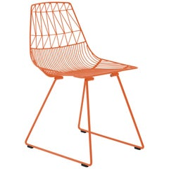 Mid-Century Modern, Minimalist Wire Chair, Lucy Chair in Orange by Bend Goods