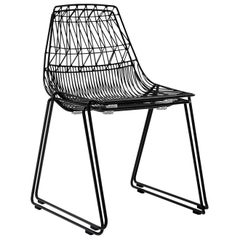 Mid-Century Modern, Minimalist Wire Chair, Stacking Side Chair in Black