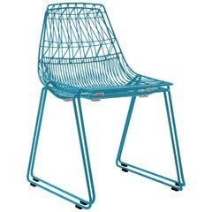 Mid-Century Modern, Minimalist Wire Chair, Stacking Side Chair in Peacock Blue