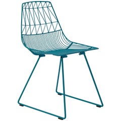 Mid-Century Modern, Minimalist Wire Chair, the Lucy Chair in Peacock Blue