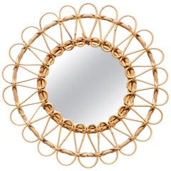 Mid-Century Modern Mirror Bamboo Rattan Handcrafted French Riviera, circa 1960