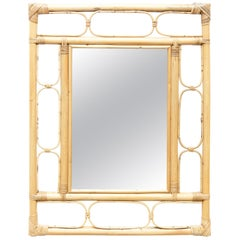 Mid-Century Modern Mirror Bamboo Rattan Handcrafted French Riviera, circa 960