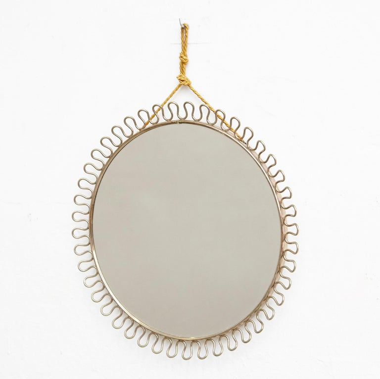 Mid-Century Modern mirror  Manufactured in France. By Josef Frank.  In original condition with minor wear consistent of age and use, preserving a beautiful patina.