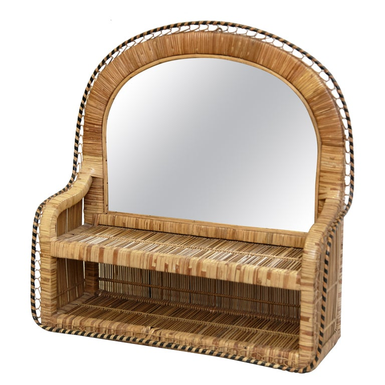 Mid-Century Modern Mirror Rattan Handcrafted French Riviera, circa 1960 For Sale