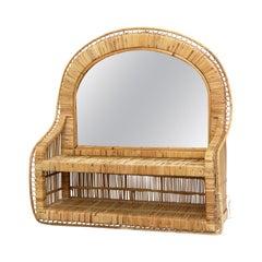 Mid-Century Modern Mirror Rattan Handcrafted French Riviera, circa 1960