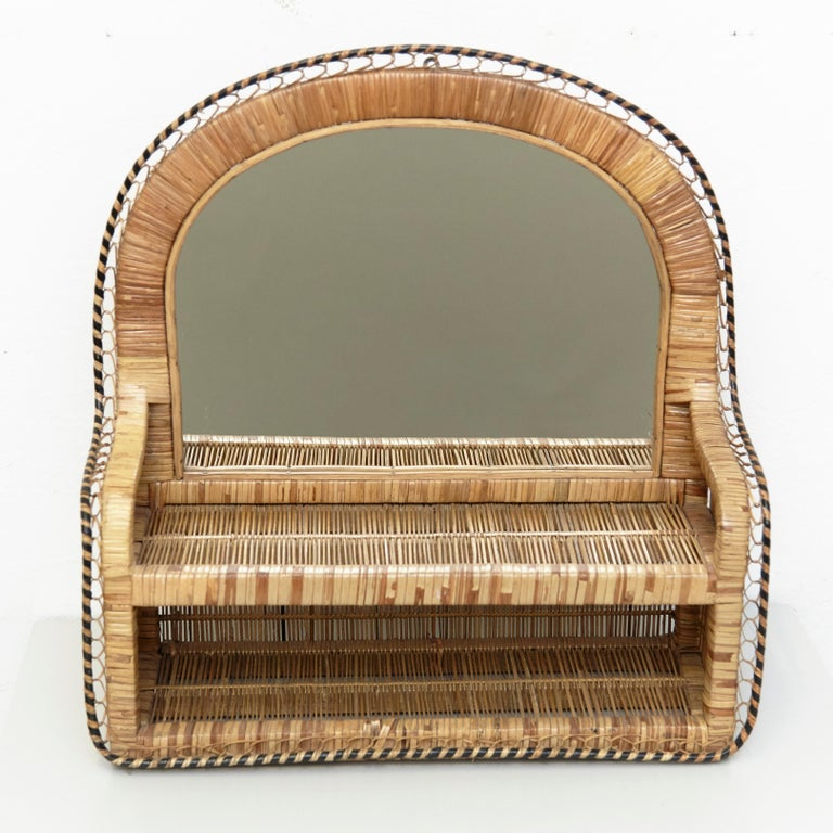 Spanish Mid-Century Modern Mirror Rattan Handcrafted French Riviera, circa 1960 For Sale