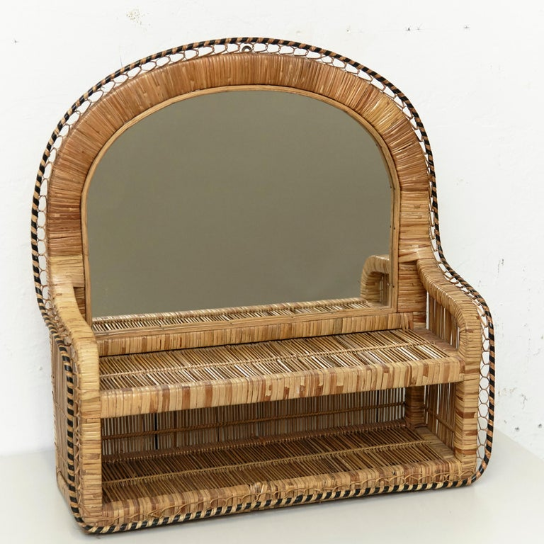Mid-Century Modern Mirror Rattan Handcrafted French Riviera, circa 1960 In Good Condition For Sale In Barcelona, Barcelona