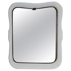 Mid-Century Modern Mirror with Transparent Shaped Glass Frame & Brass, L Fontana
