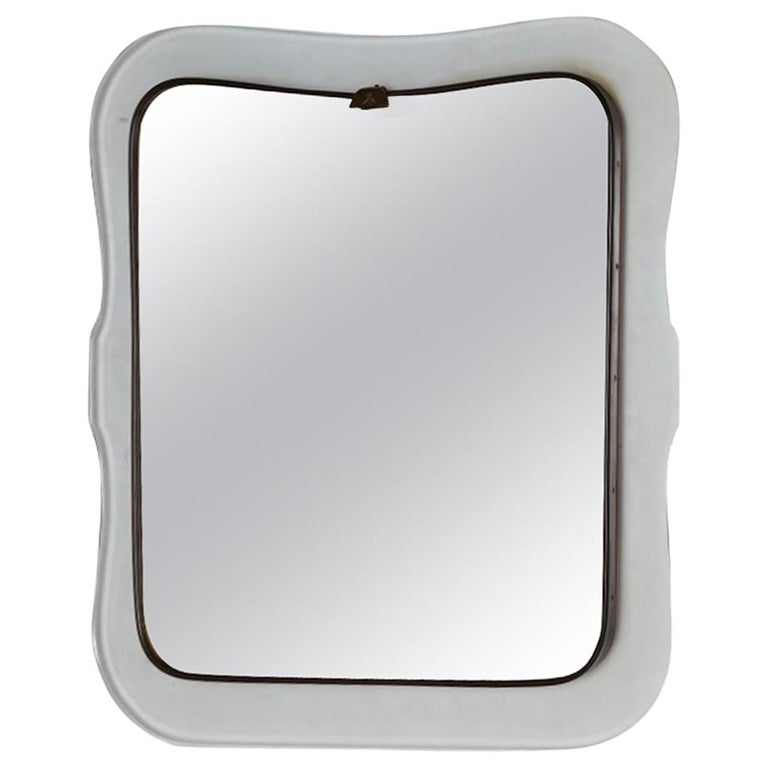 Mid-Century Modern Mirror with Transparent Shaped Glass Frame & Brass, L Fontana For Sale