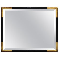 Mid-Century Modern Mirror with Ebonized Border and Gilt Corners