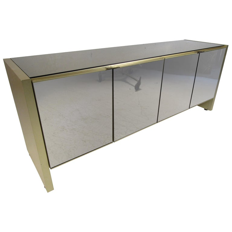 Mid-Century Modern Mirrored Credenza For Sale