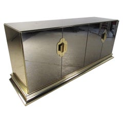 Mid-Century Modern Mirrored Credenza with Brass Skirt and Pulls