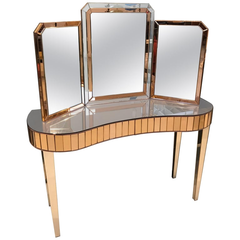 Mid-Century Modern Mirrored Vanity with Matching Mirror For Sale