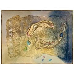Mid-Century Modern Mixed-Media Abstract Original Painting Signed Kochta