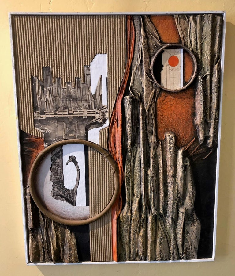 MCM mixed-media three dimensional abstract by Angela Kosta, circa 1960s. Framed and mounted on plywood measuring 24.25