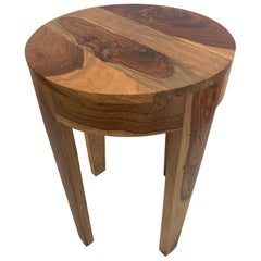 Mid-Century Modern Mixed Wood Round End Side Table