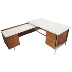 Mid-Century Modern Model 1500 Series Walnut Executive Desk by Florence Knoll
