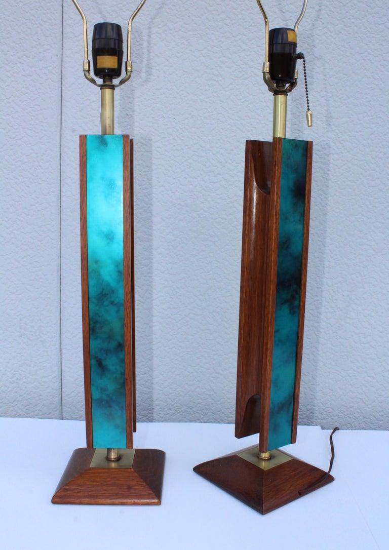 Mid-Century Modern Modeline Walnut Table Lamps For Sale 5