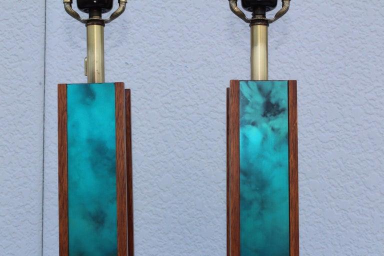 Mid-Century Modern Modeline Walnut Table Lamps For Sale 9
