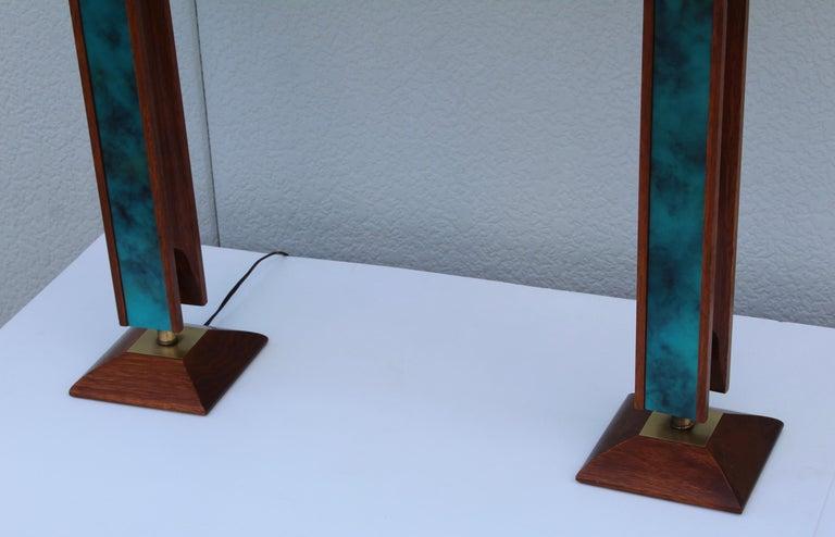 American Mid-Century Modern Modeline Walnut Table Lamps For Sale