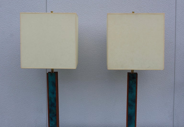 Mid-Century Modern Modeline Walnut Table Lamps In Good Condition For Sale In New York City, NY