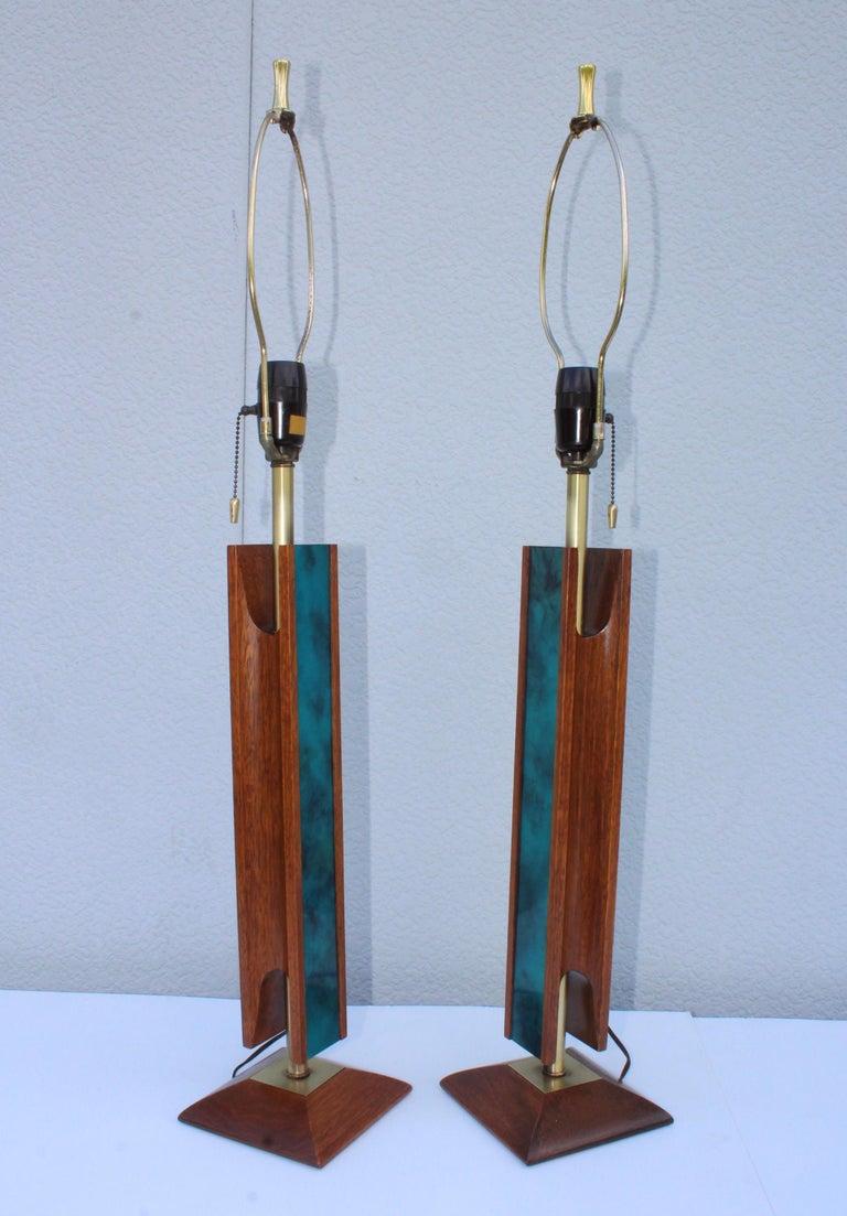 Mid-Century Modern Modeline Walnut Table Lamps For Sale 1